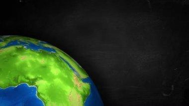 Texto cuarto rotación tierra bucle animación — Vídeo de stock