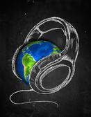 Earth Headphone music Background — Stock Photo