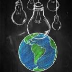 Light up the world sketch blackboard — Stock Photo