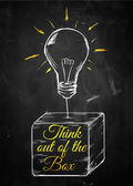 Think out of box sketch bulb — Stock Photo