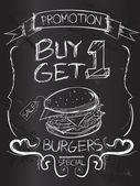 Buy one Get one Burgers — Stock Vector
