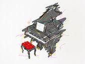 Piyano boyama — Stok Vektör