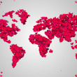 World Map Red Love — Stock Photo #47941053