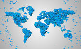 World Map Blue Love — Stock fotografie