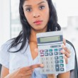 Stern businesswomholding calculator — Stock Photo #31545189
