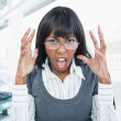 Furious businesswoman screaming — Stock Photo