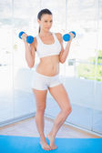Serious fit woman lifting dumbbells — Стоковое фото