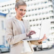 Smiling elegant businesswoman working on laptop — Stock Photo #31560869