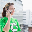 Stock Photo: Happy activist talking on phone