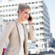 Stock Photo: Cheerful gorgeous businesswomhaving phone call