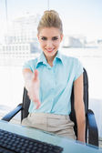 Cheerful classy businesswoman offering hand — Stock Photo