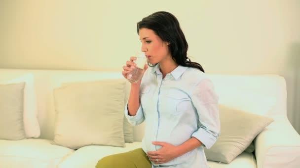 Hermosa morena embarazada beber vaso de agua — Vídeo de stock