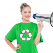 Stock Photo: Happy environmental activist holding megaphone