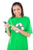 Joyful environmental activist using a mobile phone — Stock Photo