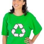 Happy woman wearing green recycling tshirt posing — Stock Photo