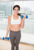 Sporty cheerful brunette holding dumbbells — Stock Photo