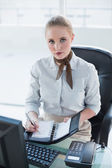 Blonde serious businesswoman writing in diary — Stock Photo