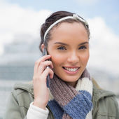 Close up view of attractive woman talking on phone — Stock Photo