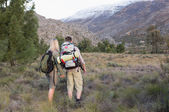 Couple with backpacks walking on forest landscape — Stockfoto