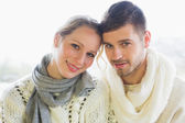 Close-up portrait of a loving couple in winter clothing — Stock Photo