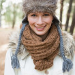 Beautiful woman wearing fur hat with woolen scarf and jacket in — Stok fotoğraf