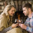 Couple toasting wineglasses in front of lit fireplace — Stock Photo