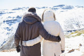 Couple in jackets looking at snowed mountain range — Foto Stock