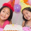 Cute little girls at birthday party — Stock Photo #37827407