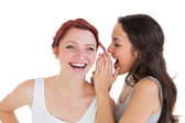 Close-up of two young female friends gossiping — Stock Photo