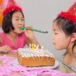 Stock Photo: Girls blowing noisemaker and birthday candles