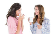 Female friends chatting while drinking coffee — Stock Photo