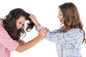 Angry woman pulling female's hair in a fight — Stock Photo