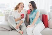 Female friends with coffee cups conversing at home — Stock Photo