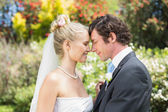 Pretty wife touching noses with new husband — Stock Photo