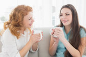 Female friends with coffee enjoying a conversation in the living — Stock Photo