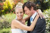 Husband hugging his new wife — Stock Photo