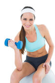 Fit woman exercising with dumbbell on fitness ball — Stockfoto