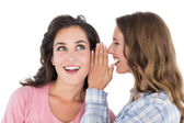 Two cheerful young female friends gossiping — Stock Photo