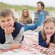 Stock Photo: Happy family of four at a beach picnic