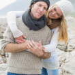 Happy romantic couple together on rocky landscape — Stock Photo #38986125