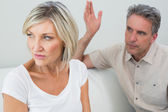 Angry couple having a fight at house — Stock Photo