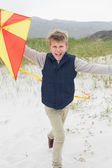 Cheerful boy with kite at beach — Stock Photo