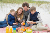 Happy family of four at a beach picnic — Stock Photo