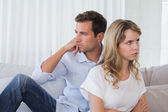 Couple not talking after an argument in living room — Stock Photo