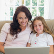 Mother and daughter using laptop together on sofa — Stock Photo #42599637