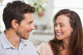 Close-up of a loving young couple smiling — Foto Stock
