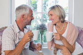 Mature couple with coffee cups at home — Stok fotoğraf