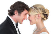 Smiling newlywed couple — Stock Photo