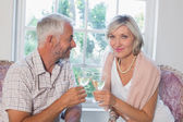 Happy mature couple with wine glasses at home — Stock Photo