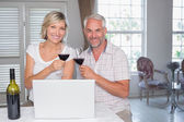 Mature couple toasting wine glasses at home — Stock Photo